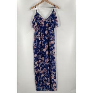 Miami- Floral Off the Shoulder Frill Maxi Dress